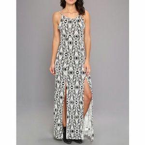 Volcom Holla Back Black & White Maxi Slit Dress